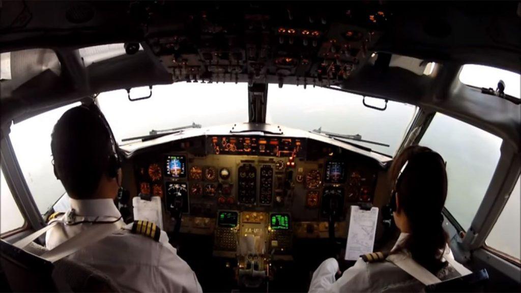 partes de la cabina de un avión