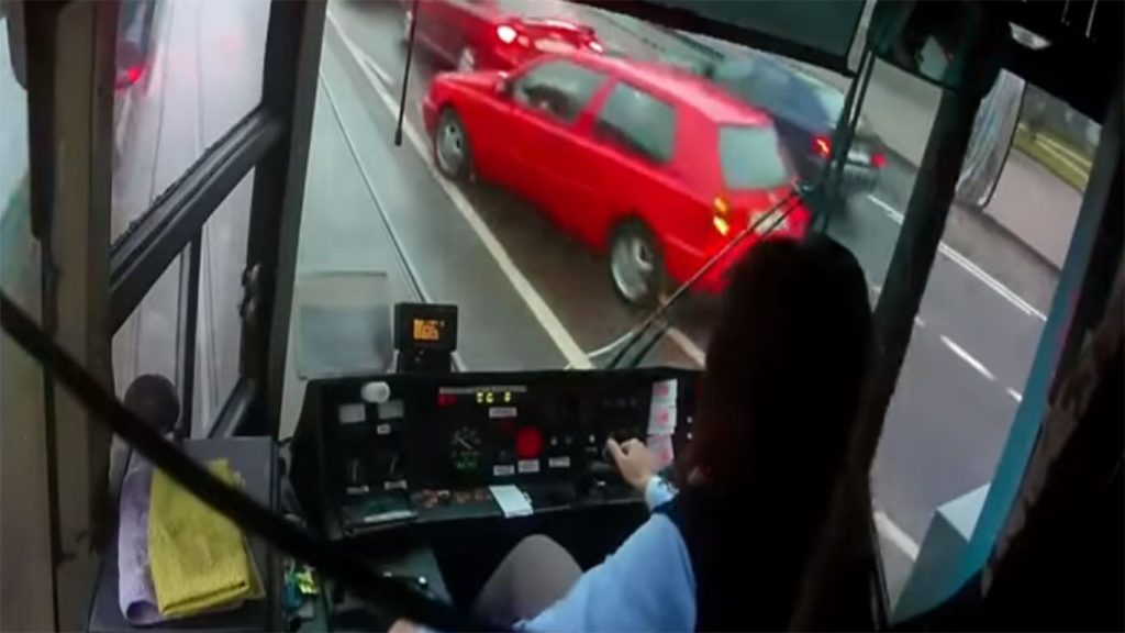 cabina del tranvia urbano